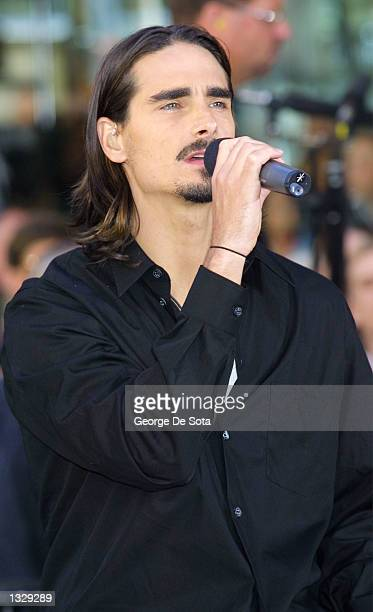 Singer Kevin Richardson of the Backstreet Boys performs July 2 2001 on the Today Show at Rockefeller Plaza in New York City