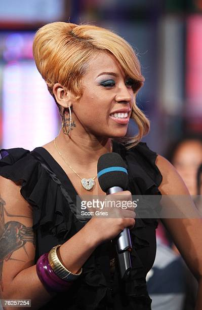 Singer Keyshia Cole appears onstage during MTV's Total Request Live at the MTV Times Square Studios on August 20 2007 in New York City