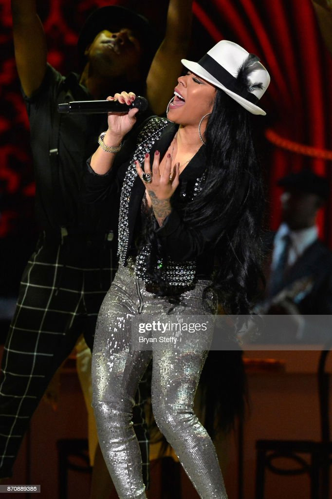 Singer Keyshia Cole performs during the 2017 Soul Train Music Awards at the Orleans Arena on November 5, 2017 in Las Vegas, Nevada.