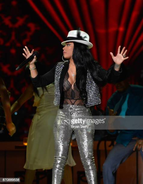 Singer Keyshia Cole performs during the 2017 Soul Train Music Awards at the Orleans Arena on November 5 2017 in Las Vegas Nevada