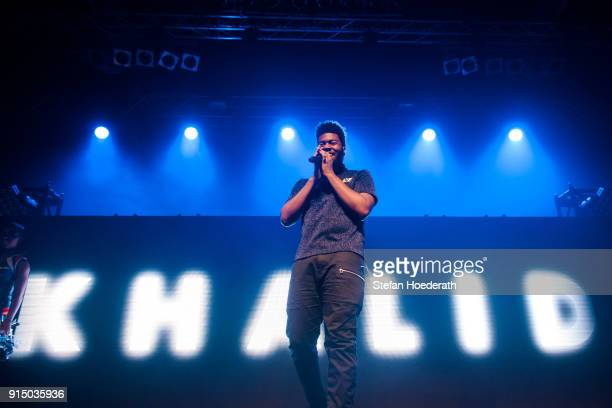 Singer Khalid performs live on stage during a concert at Huxleys Neue Welt on February 6 2018 in Berlin Germany