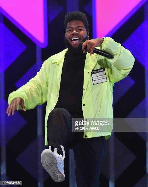 US singer Khalid performs on stage during the Z100's iHeartRadio Jingle Ball show at Madison Square Garden on December 7 2018 in New York City