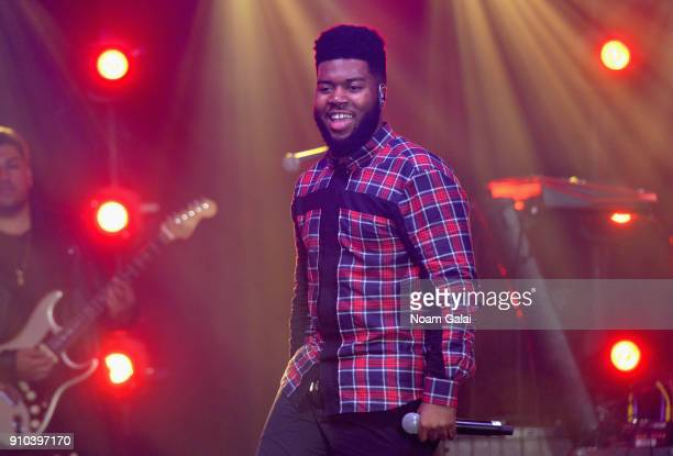 Singer Khalid performs onstage at Spotify's Best New Artist Party at Skylight Clarkson on January 25 2018 in New York City
