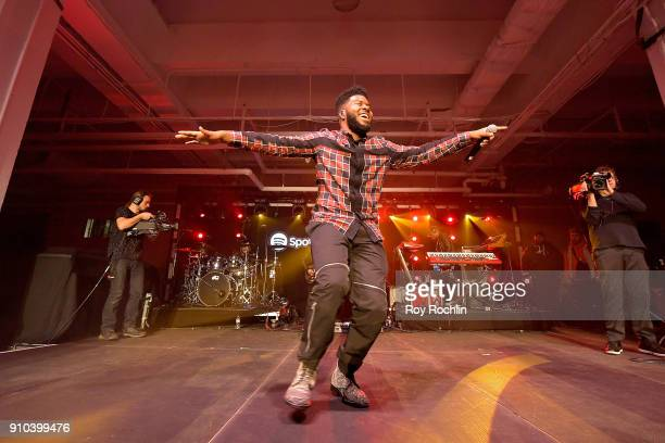 Singer Khalid performs onstage at 'Spotify's Best New Artist Party' at Skylight Clarkson on January 25 2018 in New York City
