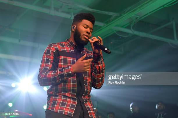 """Singer Khalid performs onstage at """"Spotify's Best New Artist Party"""" at Skylight Clarkson on January 25, 2018 in New York City."""