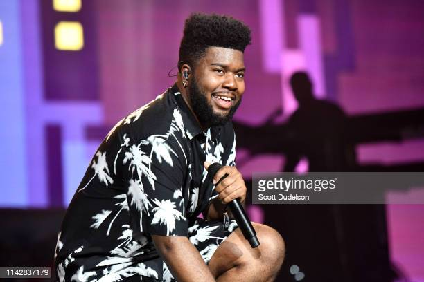 Singer Khalid performs onstage during Weekend 1 Day 3 of the Coachella Valley Music and Arts Festival on April 14 2019 in Indio California