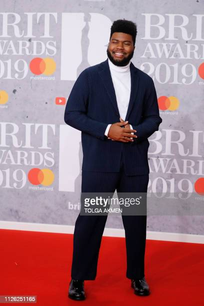 US singer Khalid poses on the red carpet on arrival for the BRIT Awards 2019 in London on February 20 2019 / RESTRICTED TO EDITORIAL USE NO POSTERS...