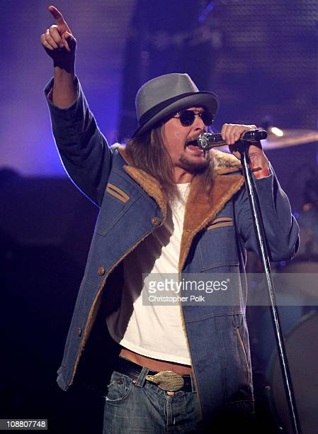 Singer Kid Rock onstage during VH1's Pepsi Super Bowl Fan Jam at Verizon Theater on February 3 2011 in Grand Prairie Texas