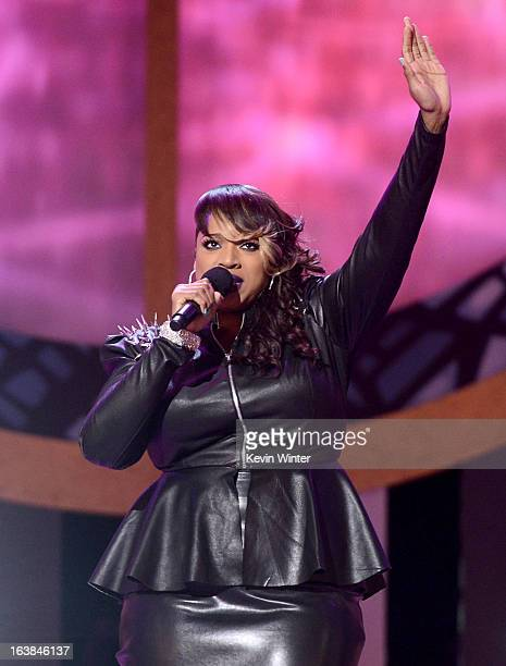 Singer Kierra Sheard performs onstage during the BET Celebration of Gospel 2013 at Orpheum Theatre on March 16 2013 in Los Angeles California