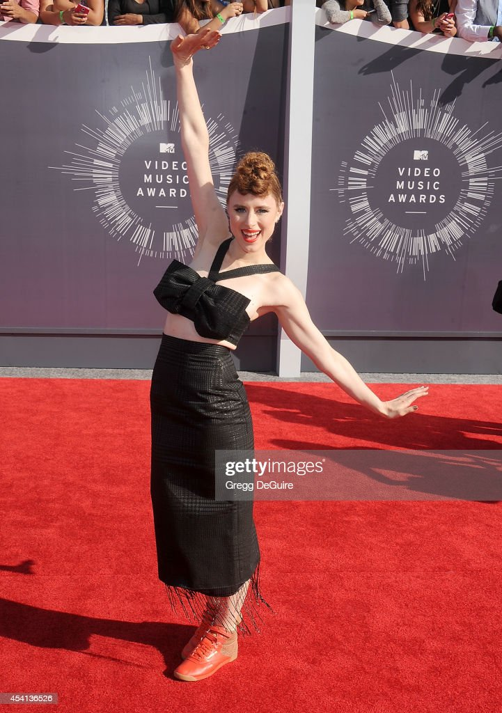 Singer Kiesza arrives at the 2014 MTV Video Music Awards at The Forum on August 24, 2014 in Inglewood, California.
