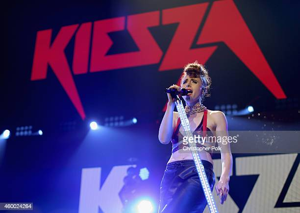 Singer Kiesza performs onstage during KIIS FM's Jingle Ball 2014 powered by LINE at Staples Center on December 5 2014 in Los Angeles California