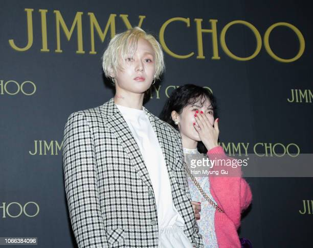 Singer Kim HyoJong and Former member of girl group 4minute HyunA attend the photocall for Jimmy Choo 'Diamond Sneakers' Launch on November 29 2018 in...
