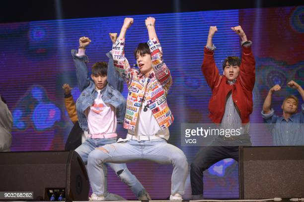 Singer Kim Jonghyun of boy group MXM performs during the release ceremony of their mini album 'Match Up' on January 10 2018 in Seoul South Korea