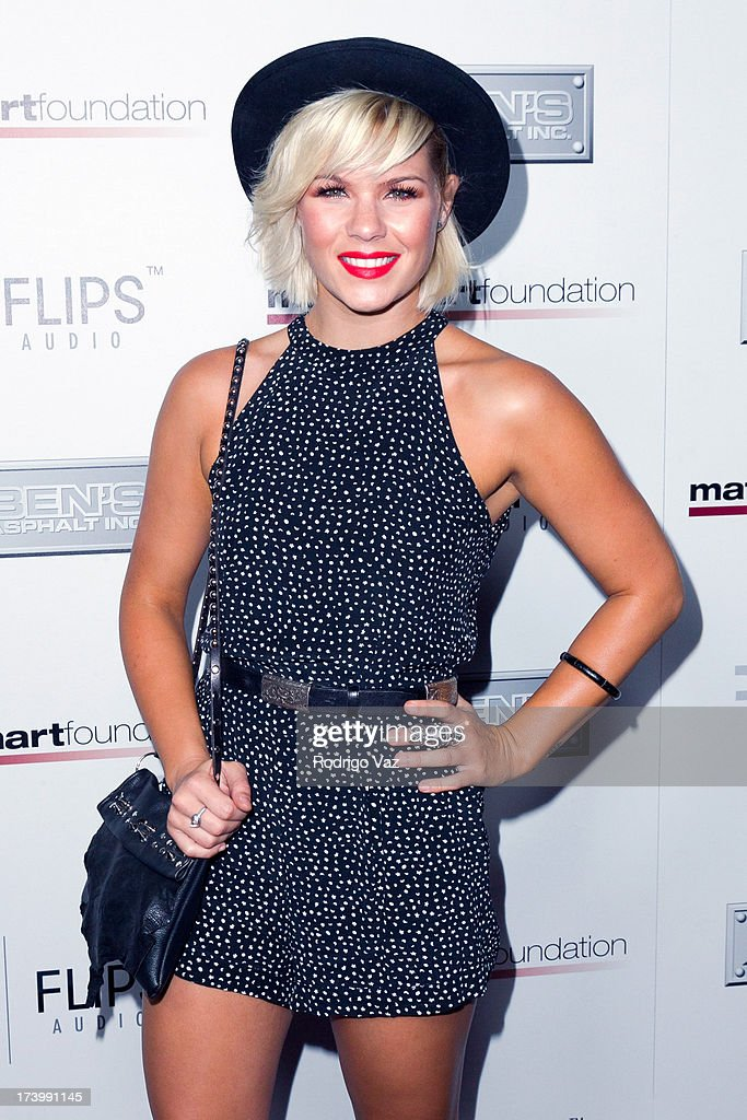 Singer Kimberly Caldwell arrives at the Matt Leinart Foundation's 7th Annual 'Celebrity Bowl' at Lucky Strikes on July 18, 2013 in Hollywood, California.