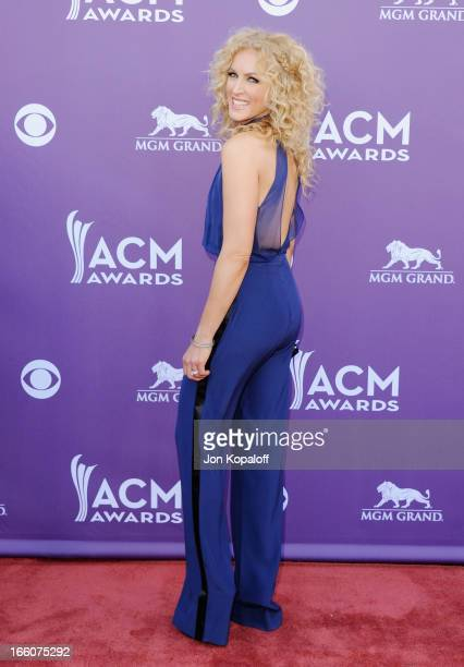 Singer Kimberly Schlapman Little Big Town arrives at the 48th Annual Academy Of Country Music Awards at MGM Grand Garden Arena on April 7 2013 in Las...