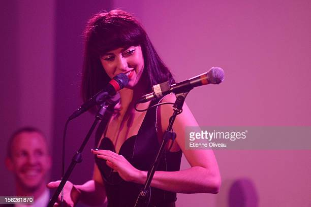 Singer Kimbra performs during the Calvin Klein special dinner at the Long March Space in 798 Art District on November 12 2012 in Beijing China