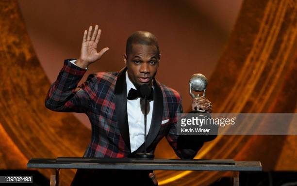 Singer Kirk Franklin accepts the Outstanding Gospel Album Traditional or Contemporary award onstage at the 43rd NAACP Image Awards PreTelecast held...