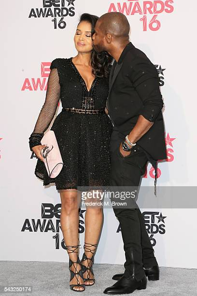 Singer Kirk Franklin and Tammy Collins pose in the press room during the 2016 BET Awards at the Microsoft Theater on June 26 2016 in Los Angeles...