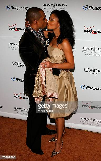 Singer Kirk Franklin and wife Tammy Collins arrive at the Clive Davis preGrammy party held at the Beverly Hilton on February 10 2007 in Beverly Hills...