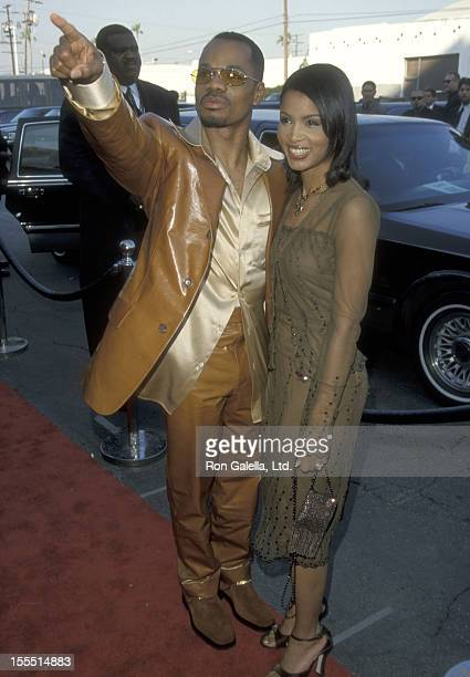Singer Kirk Franklin and wife Tammy Collins attend the 13th Annual Soul Train Music Awards on March 26 1999 at Shrine Auditorium in Los Angeles...