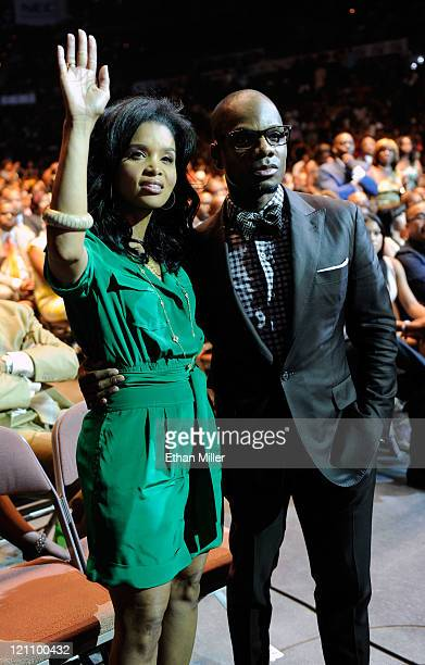 Singer Kirk Franklin and wife Tammy Collins in the audience during the ninth annual Ford Hoodie Awards at the Mandalay Bay Events Center August 13...