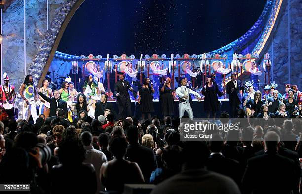 Singer Kirk Franklin Chosen and Drum Groups Sun Hwa and Futa Toro perform onstage during the 39th NAACP Image Awards held at the Shrine Auditorium on...