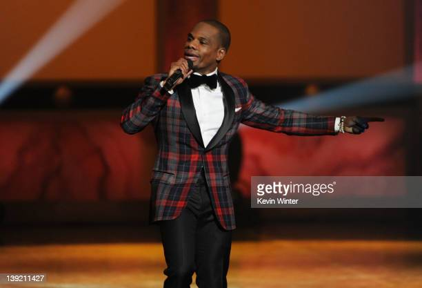 Singer Kirk Franklin performs The Greatest Love of All/I Smile onstage at the 43rd NAACP Image Awards held at The Shrine Auditorium on February 17...
