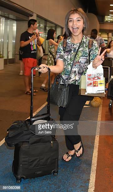 Singer Kirstin Maldonado of Pentatonix is seen upon arrival at Narita International Airport on August 17 2016 in Narita Japan