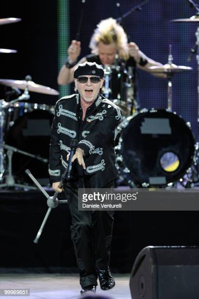 Singer Klaus Meine and drummer James Kottak of the band Scorpions perform onstage during the World Music Awards 2010 at the Sporting Club on May 18...