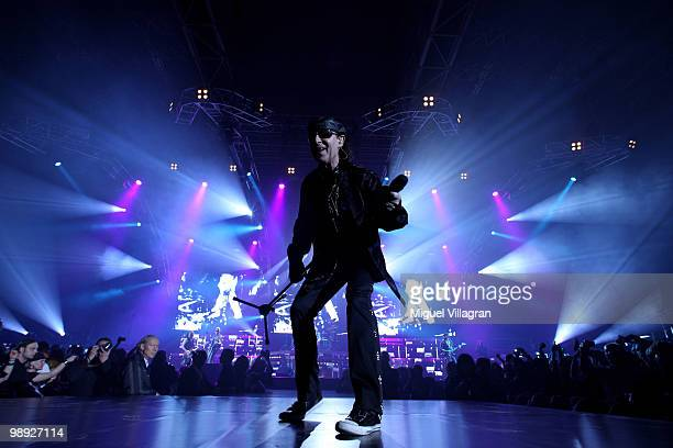 Singer Klaus Meine of German rock band Scorpions performs during the 'Sting In The Tail' tour on May 8 2010 in Munich Germany