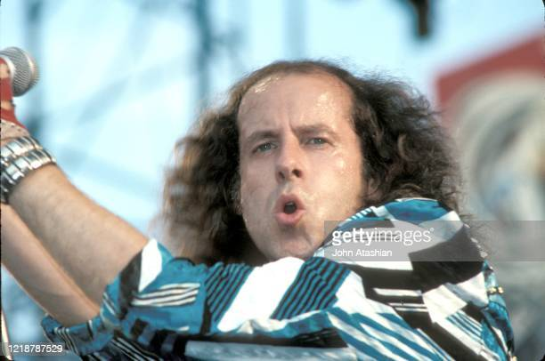 Singer Klaus Meine of the heavy metal band The Scorpions is shown performing on stage during the Monsters of Rock tour on June 12 1988