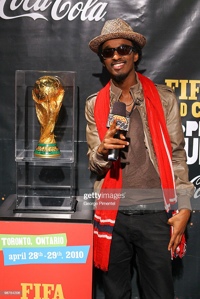 Singer K'naan brings the 2010 FIFA World Cup Trophy to Canada and visits MuchOnDemand at the MuchMusic HQ on April 29, 2010 in Toronto, Canada.