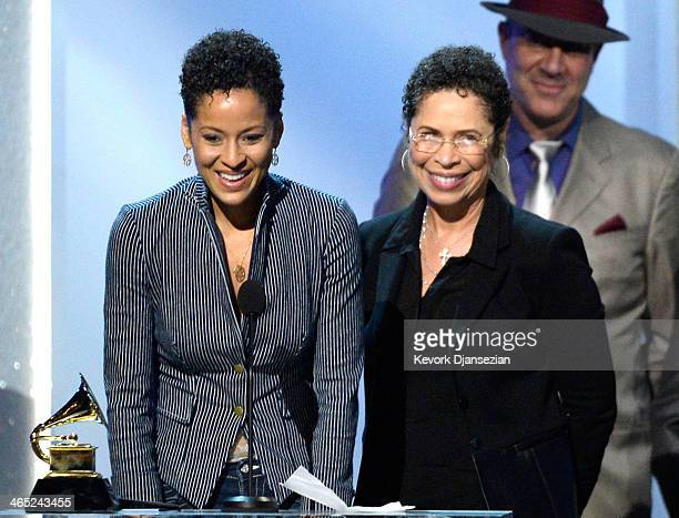 Singer Kori Withers and mother Marcia Johnson accept Best Historical Album for 'The Complete Sussex And Columbia Albums' onstage during the 56th...