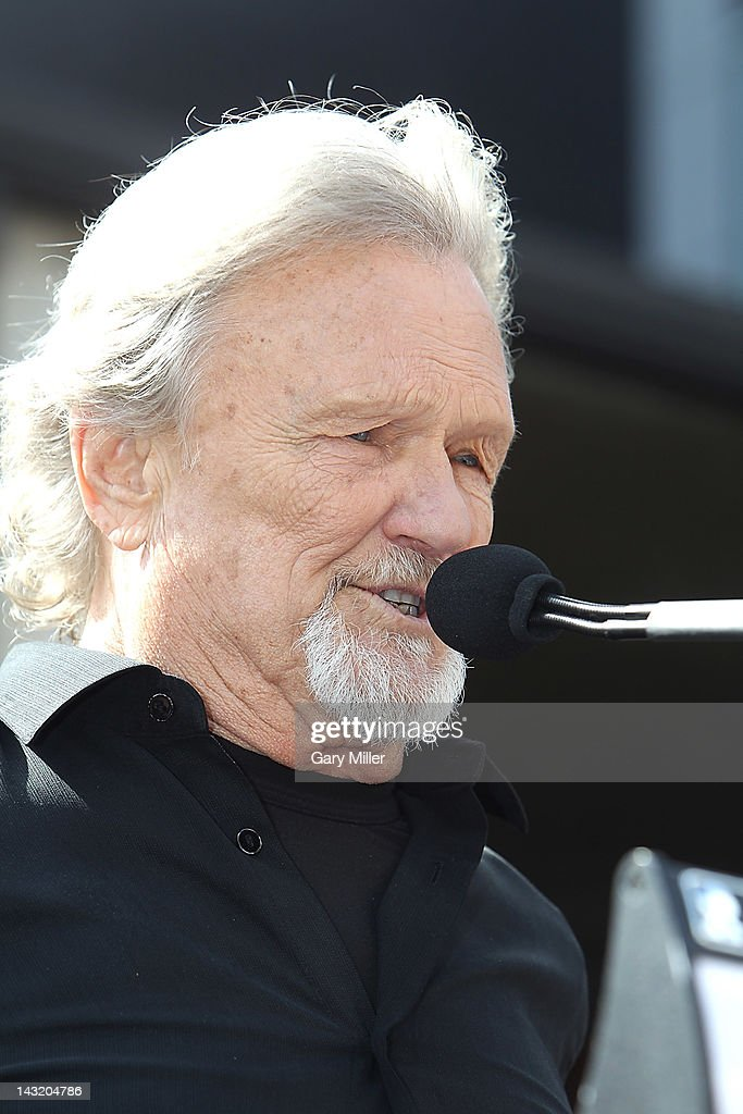 Singer Kris Kristofferson speaks during the unveiling of Willie Nelson's statue at ACL Live on April 20, 2012 in Austin, Texas.