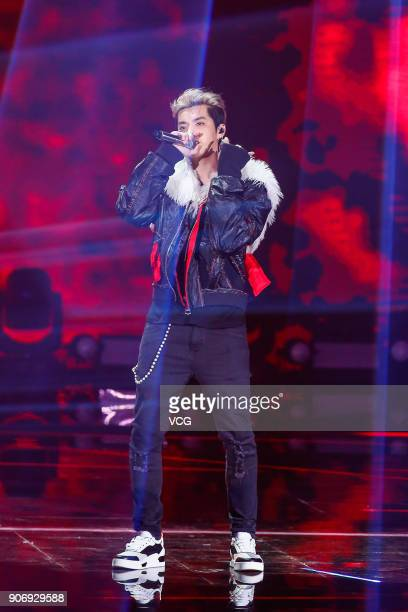 Singer Kris Wu performs on the stage during 2017 Weibo Awards Ceremony at National Aquatics Center on January 18 2018 in Beijing China