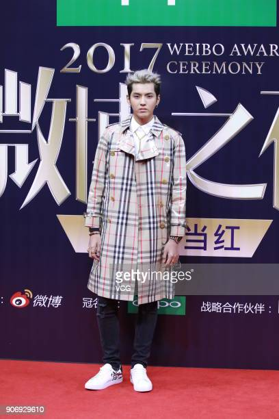 Singer Kris Wu poses on the red carpet of 2017 Weibo Awards Ceremony at National Aquatics Center on January 18 2018 in Beijing China