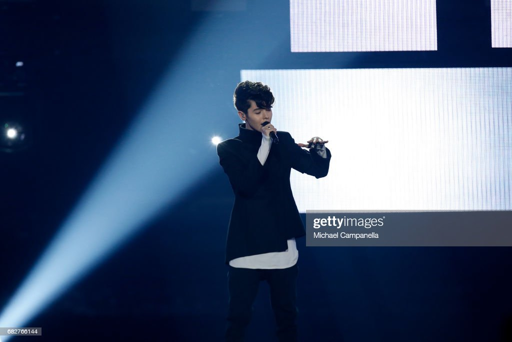 Singer Kristian Kostov, representing Bulgaria, performs the song 'Beautiful Mess' during the final of the 62nd Eurovision Song Contest at International Exhibition Centre (IEC) on May 13, 2017 in Kiev, Ukraine.