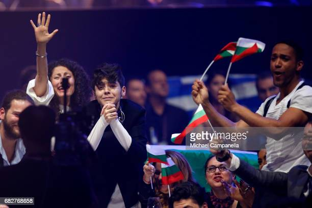 Singer Kristian Kostov representing Bulgaria reacts during the final of the 62nd Eurovision Song Contest at International Exhibition Centre on May 13...