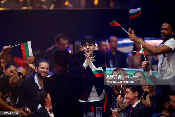 Singer Kristian Kostov representing Bulgaria reacts during the voting during the final of the 62nd Eurovision Song Contest at International...