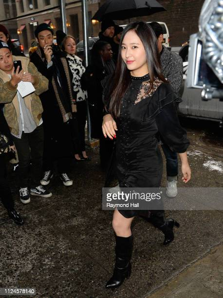 Singer Krystal Jung is seen arriving to Coach 1941 fashion show at the NYSE during New York Fashion Week on February 12 2019 in New York City