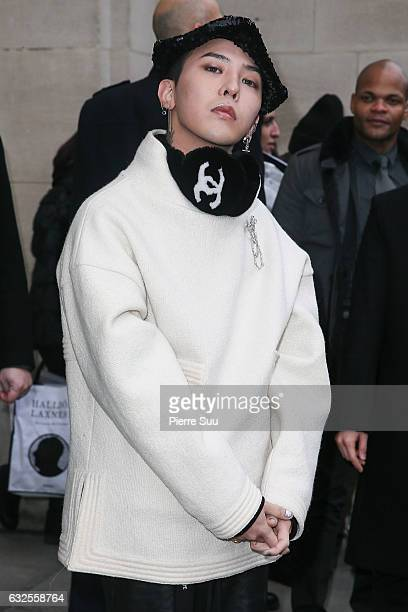 Singer Kwon JiYong aka GDragon arrives at the Chanel Haute Couture Spring Summer 2017 show as part of Paris Fashion Week on January 24 2017 in Paris...