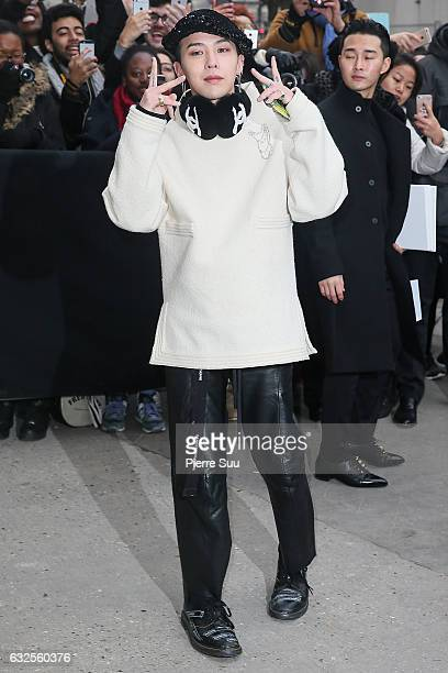 Singer Kwon JiYong alias GDragon arrives at the Chanel Haute Couture Spring Summer 2017 show as part of Paris Fashion Week on January 24 2017 in...