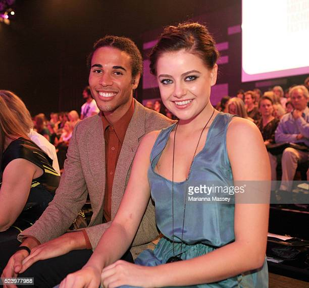 Singer Kyle Linahan and Model April Rose Pengilly before the Runway 4 show during L'Oreal Melbourne Fashion Festival