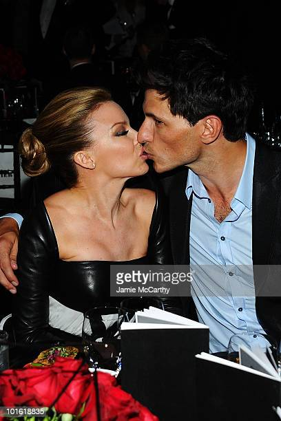 Singer Kylie Minogue and Andres Velencoso Segura attend the 2010 amfAR New York Inspiration Gala at The New York Public Library on June 3 2010 in New...