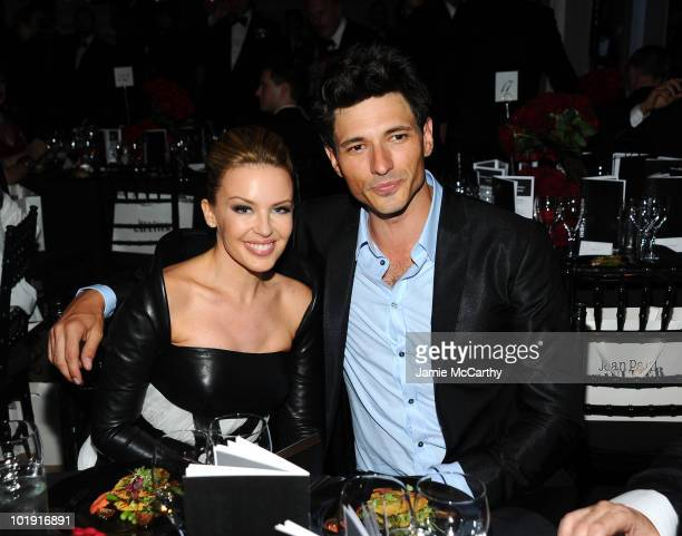 Singer Kylie Minogue and Andres Velencoso Segura attends the 2010 amfAR New York Inspiration Gala at The New York Public Library on June 3 2010 in...