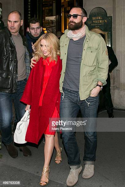 Singer Kylie Minogue and Joshua Sasse are seen on December 3 2015 in Paris France