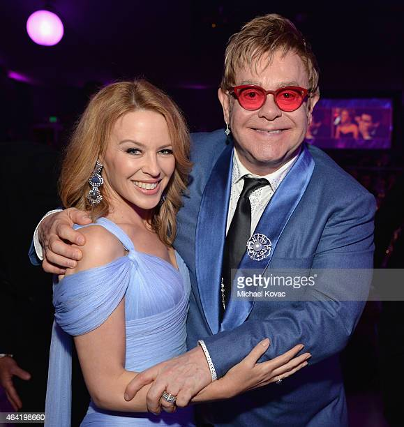 Singer Kylie Minogue and Sir Elton John attend the 23rd Annual Elton John AIDS Foundation Academy Awards Viewing Party on February 22 2015 in Los...
