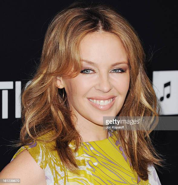 Singer Kylie Minogue arrives at Roc Nation Hosts Annual Private Pre-GRAMMY Brunch at Soho House on February 9, 2013 in West Hollywood, California.