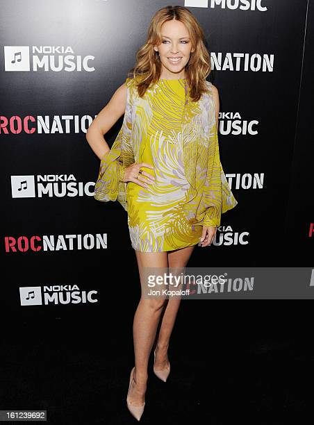 Singer Kylie Minogue arrives at Roc Nation Hosts Annual Private PreGRAMMY Brunch at Soho House on February 9 2013 in West Hollywood California