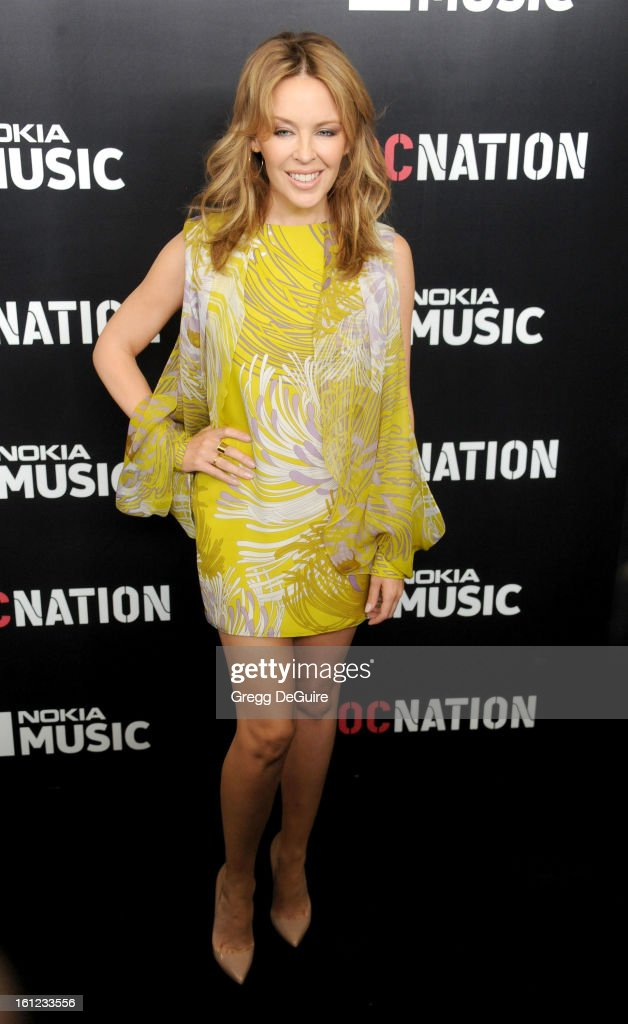 Singer Kylie Minogue arrives at Roc Nation Pre-GRAMMY brunch at Soho House on February 9, 2013 in West Hollywood, California.